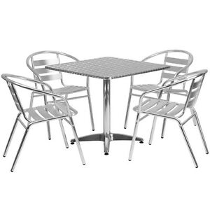31 5 Square Aluminum Indoor outdoor Restaurant Table With 4 Slat Back Chairs
