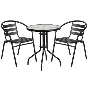 23 75 Round Indoor outdoor Restaurant Table Set With 2 Black Aluminum Chairs