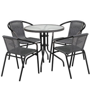 28 Round Indoor outdoor Restaurant Table Set With 4 Gray Rattan Chairs