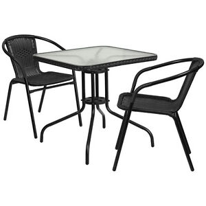 28 Square Indoor outdoor Restaurant Table Set With 2 Black Rattan Chairs