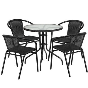 28 Round Indoor outdoor Restaurant Table Set With 4 Black Rattan Chairs
