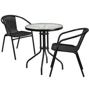 23 75 Round Indoor outdoor Restaurant Table Set With 2 Black Rattan Chairs