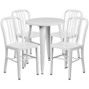 24 Round White Metal Indoor outdoor Restaurant Table Set W 4 Slat Back Chairs
