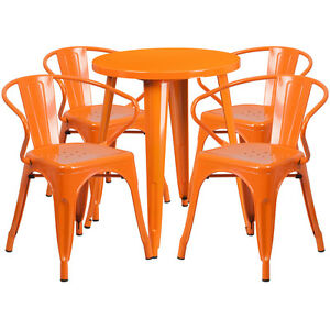 24 Round Orange Metal Indoor outdoor Restaurant Table Set With 4 Arm Chairs