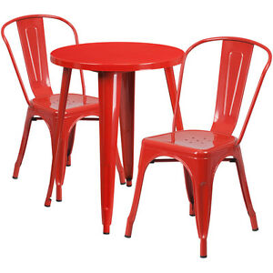 24 Round Red Metal Indoor outdoor Restaurant Table Set With 2 Cafe Chairs