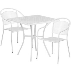 28 Square White Indoor outdoor Patio Restaurant Table Set W 2 Chairs
