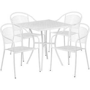 28 Square White Indoor outdoor Patio Restaurant Table Set W 4 Chairs