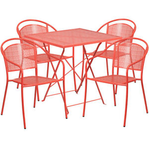 28 Red Indoor outdoor Folding Patio Restaurant Table Set W 4 Round Back Chairs