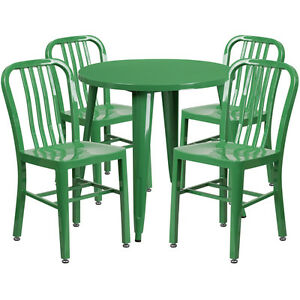 30 Round Green Metal Indoor outdoor Restaurant Table Set W 4 Slat Back Chairs