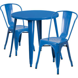 30 Round Blue Metal Indoor outdoor Restaurant Table Set With 2 Cafe Chairs