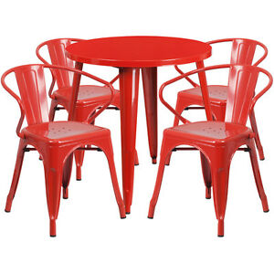 30 Round Red Metal Indoor outdoor Restaurant Table Set With 4 Arm Chairs