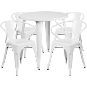 30 Round White Metal Indoor outdoor Restaurant Table Set With 4 Arm Chairs