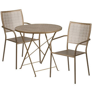 30 Round Gold Indoor outdoor Folding Patio Restaurant Table Set W 2 Chairs