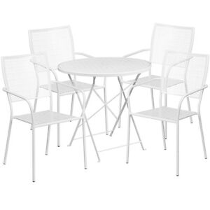 30 Round White Indoor outdoor Folding Patio Restaurant Table Set W 4 Chairs