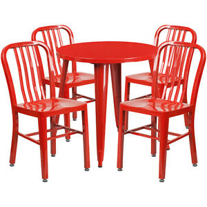 30 Round Red Metal Indoor outdoor Restaurant Table Set With 4 Slat Back Chairs