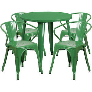 30 Round Green Metal Indoor outdoor Restaurant Table Set With 4 Arm Chairs