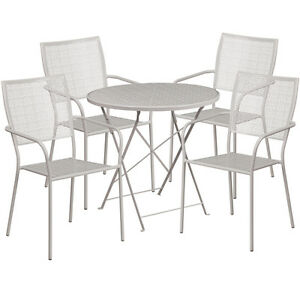 30 Round Gray Indoor outdoor Folding Patio Restaurant Table Set With 4 Chairs