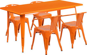 31 5 X 63 Industrial Orange Metal Outdoor Restaurant Table Set With 4 Chairs