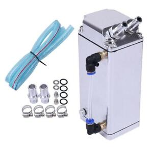 Square Style Aluminum Engine Oil Catch Tank Can Reservoir Breather Kits Chrome