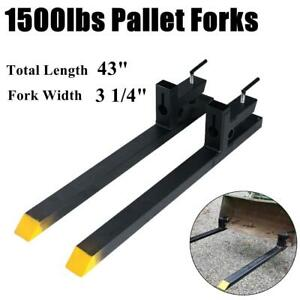 43 1500lbs Pallet Forks Tractor Clamp On Bucket Loader Skidsteer Quick Attach