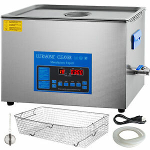 30l Digital Ultrasonic Cleaner With Heater 28 40khz Large Tub Basket Degas