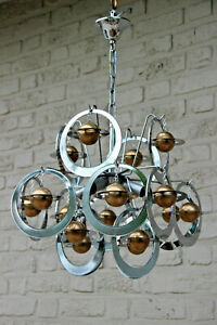Vintage Retro Vistosi Sputnik Atomic Planets Chrome Chandelier 1960