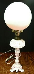 Antique Victorian Dresden Style Porcelain Parlor Lamp Converted To Electric Exc