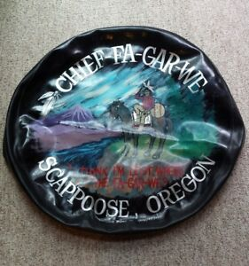 Vtg Custom Hand Paint Spare Tire Cover Native American Scappoose Oregon Wall Art