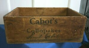 Cabot S Collopakes Wooden Crate Paint Advertising Shipping Box Rare Dovetail