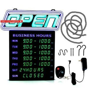 Led Open Sign With Business Hours Stand Out With 1000 s Color Combos To Ma