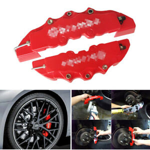 4pcs 3d Brembo Style Red Disc Brake Caliper Covers Front Rear Kit Universal