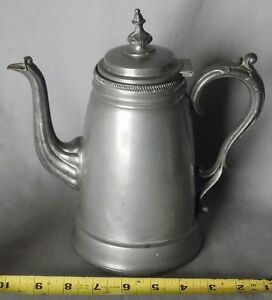 American Antique Pewter Rufus Dunham Coffee Pot 19th C Urn Form Signed Maine
