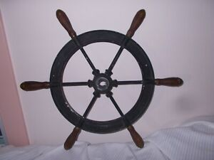 25 Ship S Steering Wheel Cast Metal With Wood Handles And Brass Tips Vintage