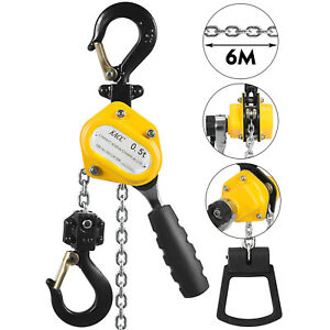Manual Lever Chain Hoist 1100lbs 1 2 Ton Capacity 20ft 6m Lift