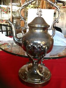 Vintage Bsc Crown Silver On Copper Tilt Tea Pot Or Coffee Stand