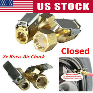 2pack Open Flow Straight Lock On Air Chuck With Clip For Tire Inflator Car Tools