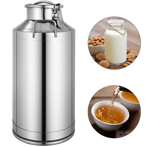 60l 15 85 Gallon Stainless Steel Milk Can Wine Pail Bucket Tote Jug In One Piece