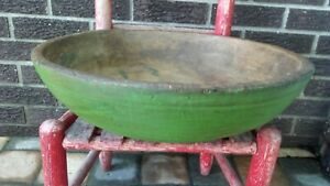 Early Antique Extra Large Wooden Dough Bowl Old Green Paint W Repairs Aafa