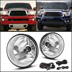 For 05 11 Toyota Tacoma Clear Front Bumper Fog Light Lamps W complete Kit Pair