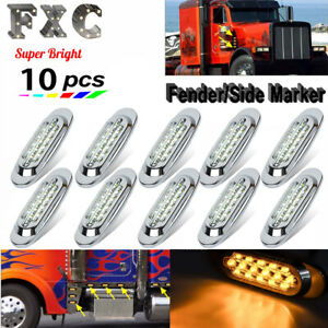 10x 6 1 2 Clear amber 16 led Trailer Side Marker Turn Signal Lights Chromed 12v