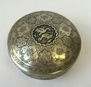 Antique Persian Hand Engraved Hand Made 84 Silver Container W Lid