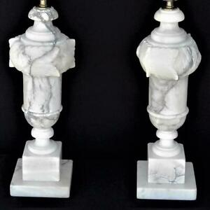 Vintage Pair Italian Alabaster Neoclassical Table Lamp And Finial Hand Carved