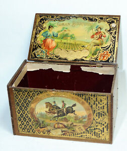 Stunning Antique C1890 Tramp Art Box Made From Victorian Cigar Labels Folk Craft