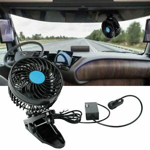 Car Fan 12v Electric Cooling Speed Adjustable 360 Degree Rotatable With Clip On