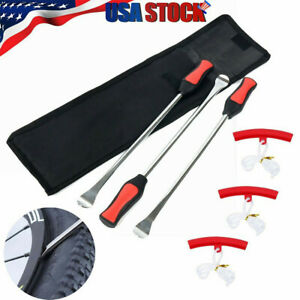 Tire Spoon Lever Iron Tool Motorcycle Bike Tire Change Kit W 3pc Rim Protectors