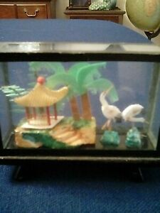 Vintage Mini Asian Shadow Box Hand Made Scene Inside Black Lacquer Frame
