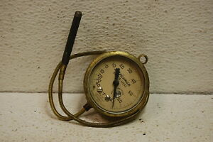 Vintage Marsh Instrument Co Brass Gauge 2 1 8 Temperature Glass Steampunk