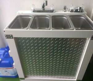 Portable Concession Sink 3 Compartment Sink hand Sink Hot Water 120v Electric