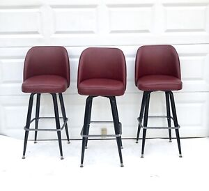 Vintage Mid Century Modern Bar Stool Set Of 3