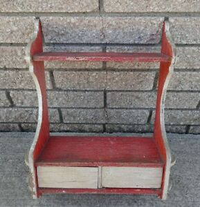 Primitive Painted Red White Hanging Kitchen Cupboard Spice Cabinet Crackled